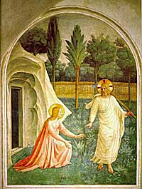 A small image of the Fra Angelico fresco, Noli Me Tangere, 1425-30
