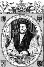 An engraving of Matthew Parker, book in hand.