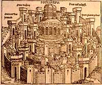 Ancient woodcut of Jerusalem