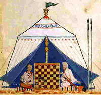 Christian and  Muslim knights playing chess in a tent.