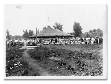 A revival (and requisite) tent in the States in the 1920s.