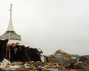Arctic cathedral being demolished
