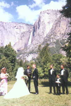 A bridal party standing in a Yosemite meadow