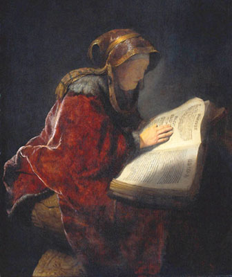 Rembrandt paints the prophetess