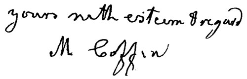 Margaret Coffin's signature from a letter to George Washington Doane