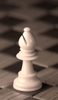 White bishop from chess set