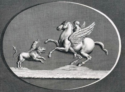 Bellerophon and Pegasus fight the monster Chimera