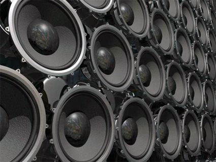 A wall of loudspeakers