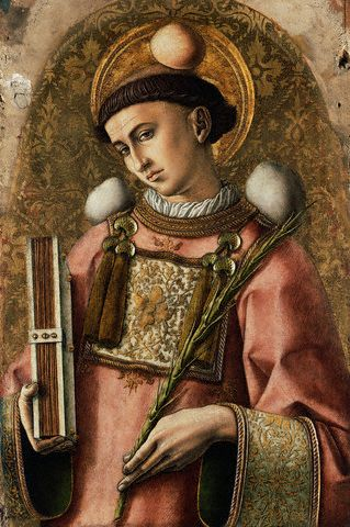Depiction of St. Stephen from The Demidoff Altarpiece by Carlo Crivelli.