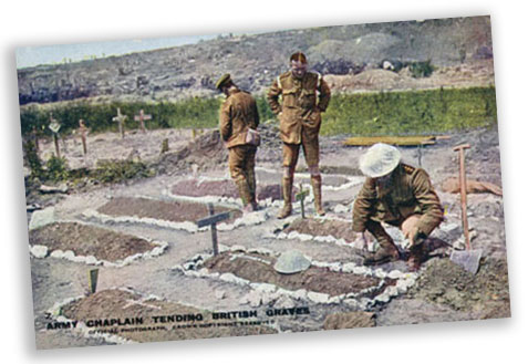 British Army chaplains tending British graves
