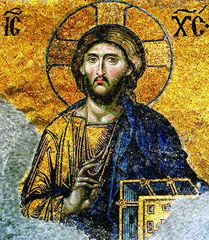 "00058 christ pantocrator mosaic hagia sophia 656x800"" by Byzantinischer Mosaizist des 12. Jahrhunderts - Unknown. Licensed under Public domain via Wikimedia Commons"