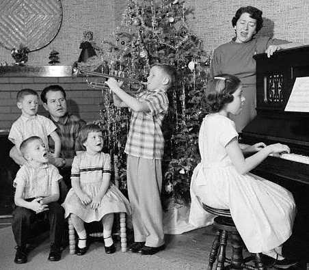 Family singing carols