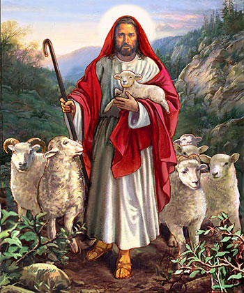 Jesus with actual sheep