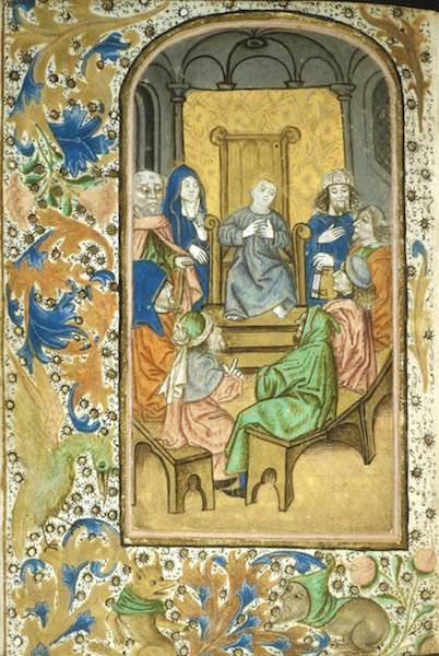 Jesus among the doctors with Mary and Joseph, from the Enkhuisen Book of Hours, 15th century
